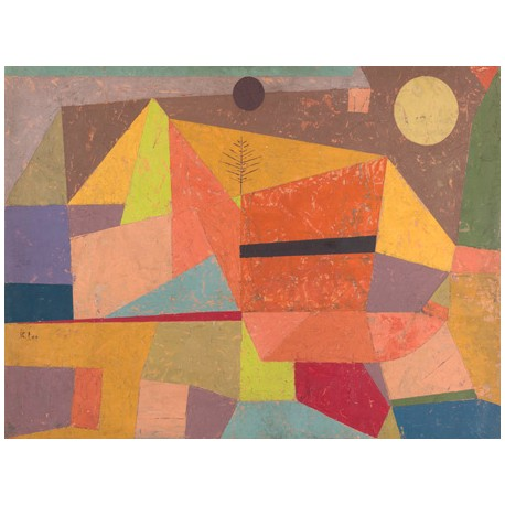 Paul Klee Joyful Mountain Landscape Ready-to-hang picture in 100% cotton Canvas or Large variety of size and material.