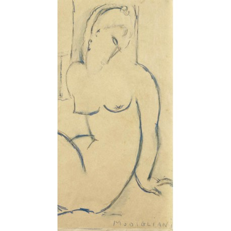 Amedeo Modigliani, Seated Woman. Quadro con Nudo di Donna in verticale, misure varie