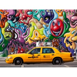 Taxi and mural Paiting in Soho, Setboun Michel